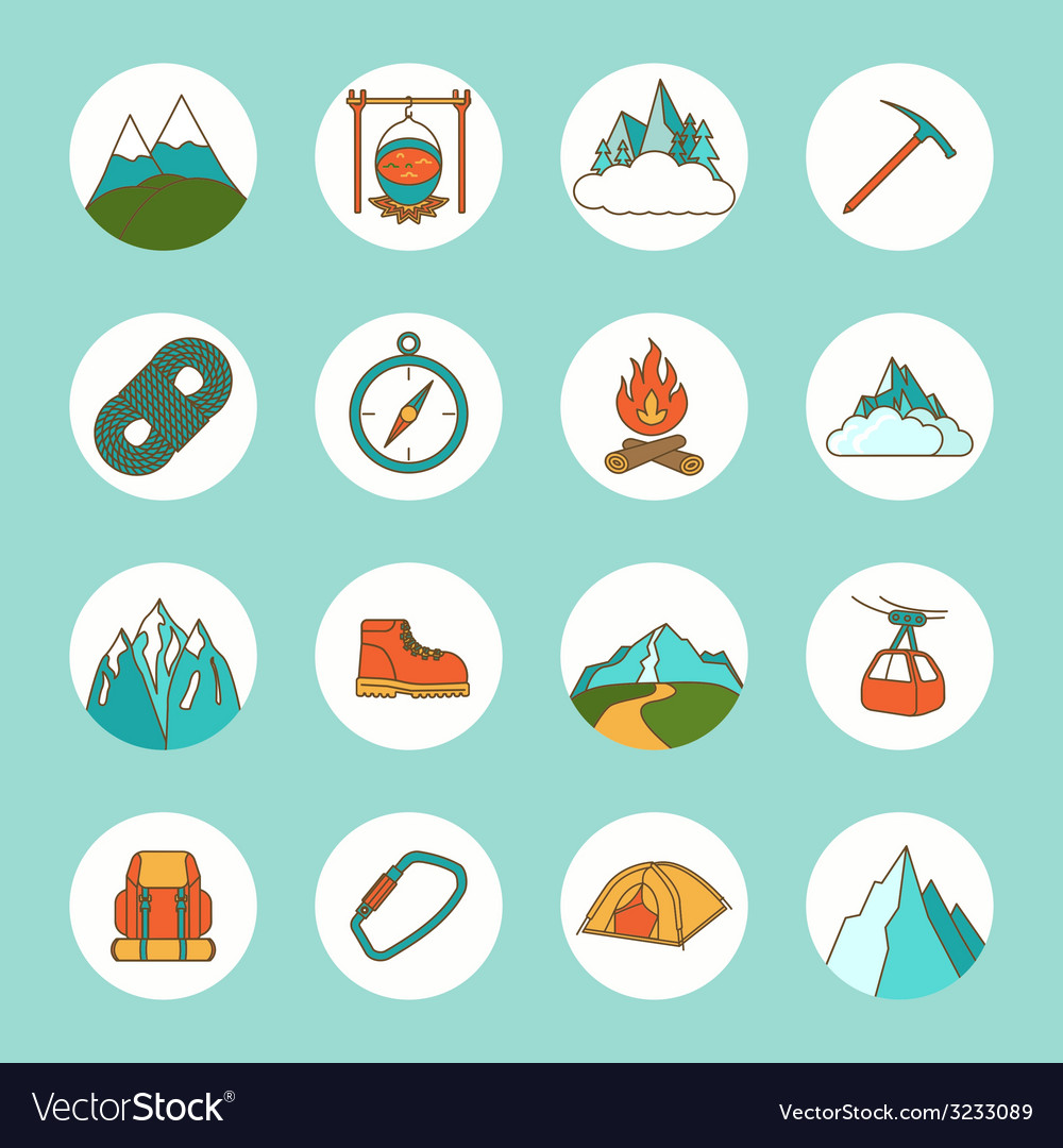 Mountain icons flat vector | Price: 1 Credit (USD $1)