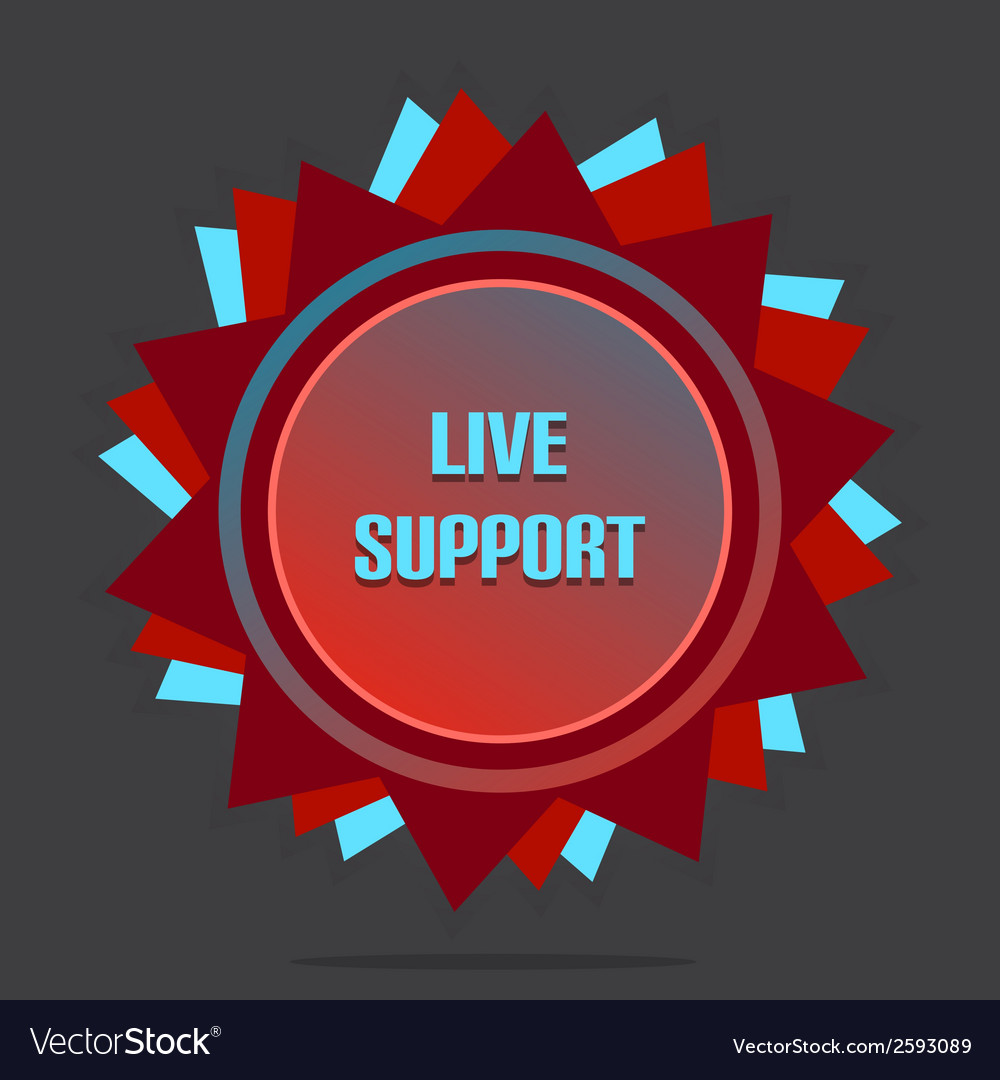 Red style star with label sign live support vector | Price: 1 Credit (USD $1)