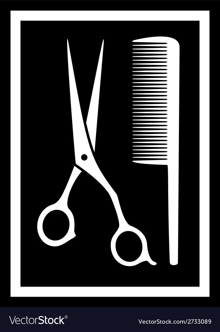 Scissors with comb - icon for barbershop vector | Price: 1 Credit (USD $1)