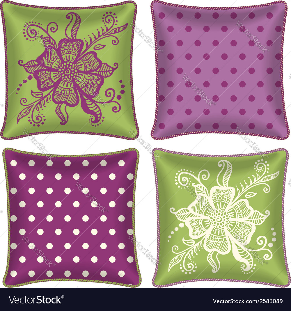 Set of decorative pillow vector | Price: 1 Credit (USD $1)