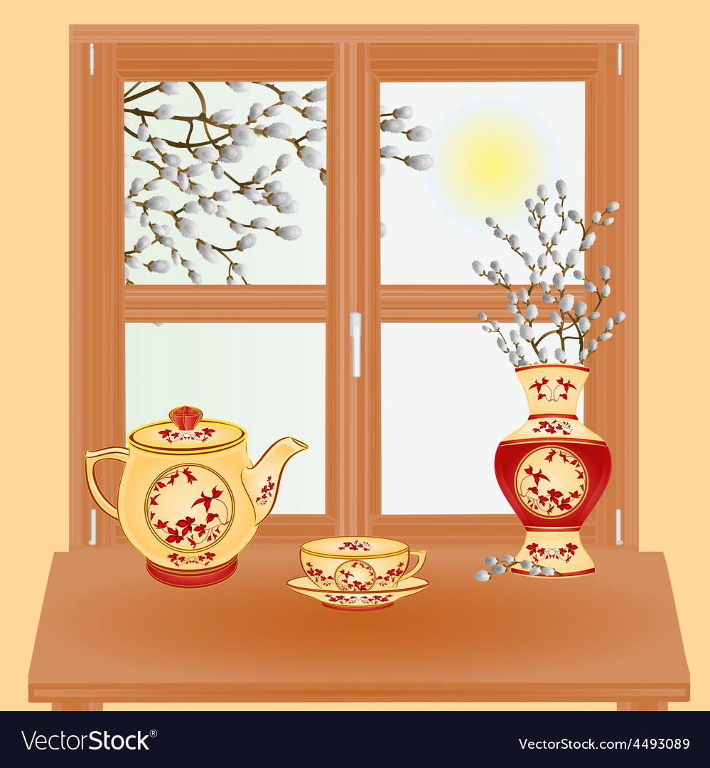 Spring window with pussy willow vase and tea set vector | Price: 1 Credit (USD $1)