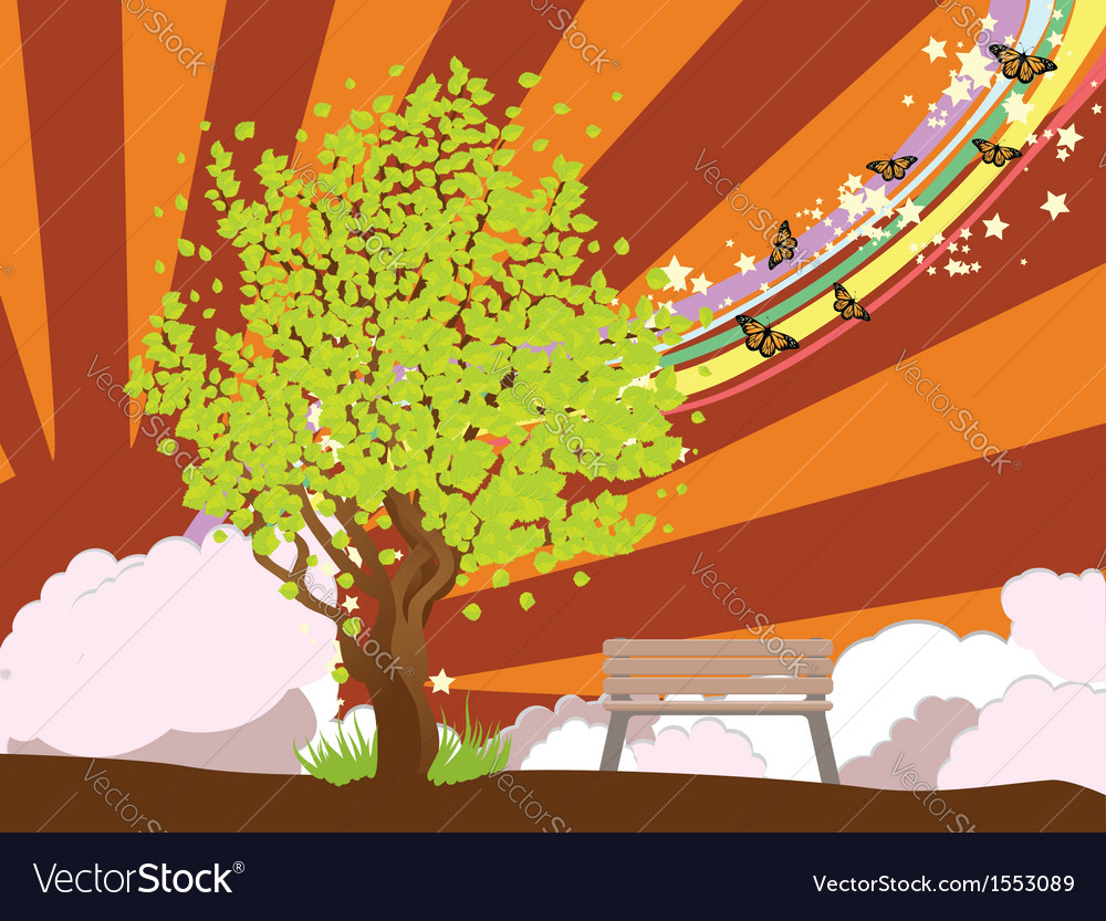 Summer with green tree2 vector | Price: 1 Credit (USD $1)