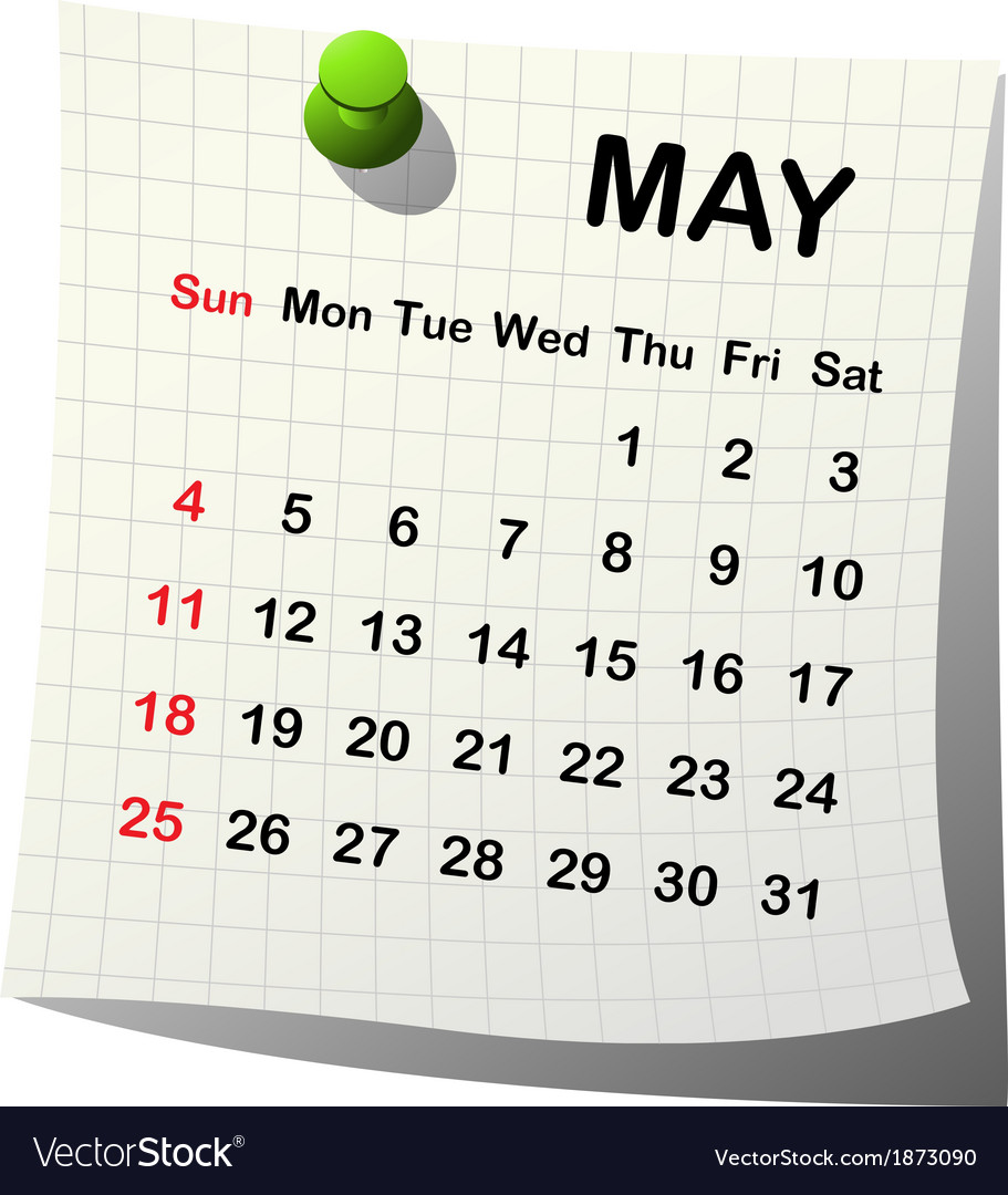 2014 paper calendar for may vector | Price: 1 Credit (USD $1)