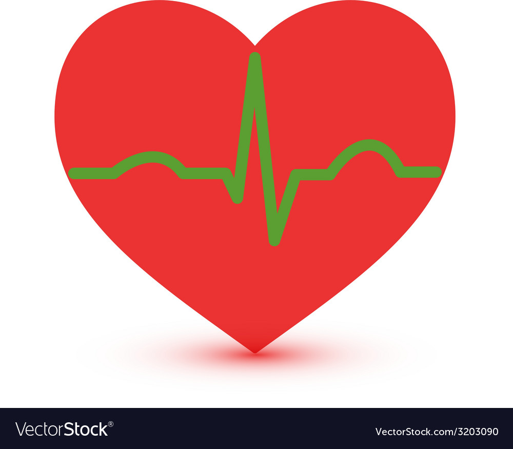 Abstract green and red ecg heart icon vector | Price: 1 Credit (USD $1)