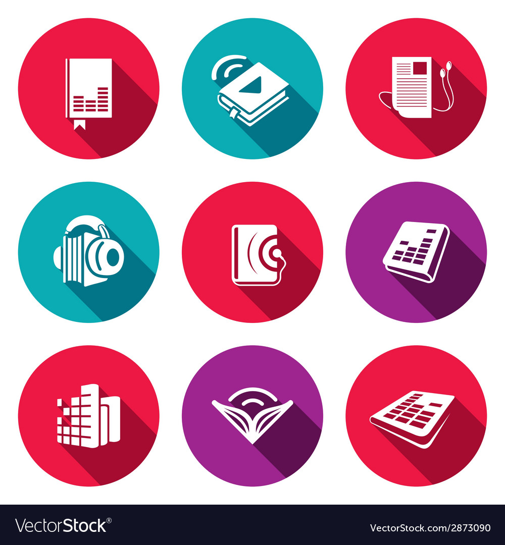 Audio book flat icons set vector | Price: 1 Credit (USD $1)