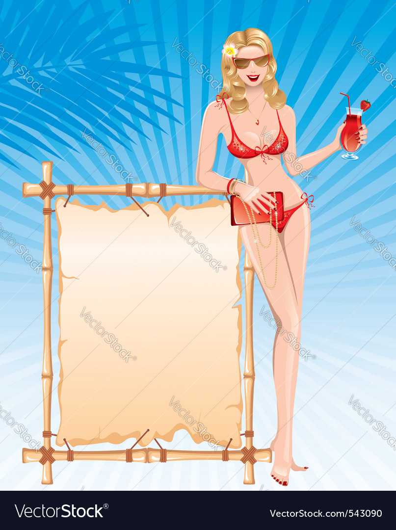 Beautiful girl in bikini with cocktail vector | Price: 3 Credit (USD $3)