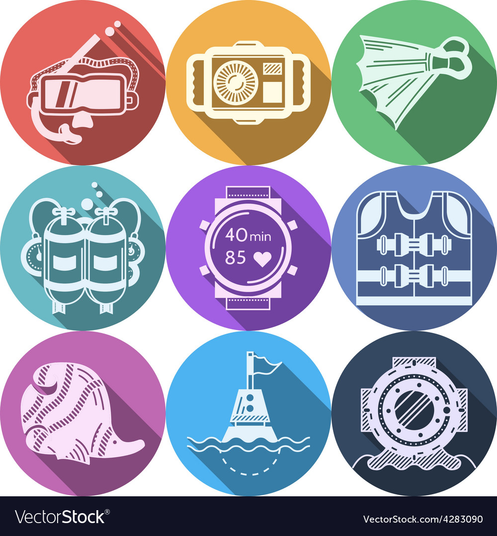 Colored flat icons for diving vector | Price: 1 Credit (USD $1)