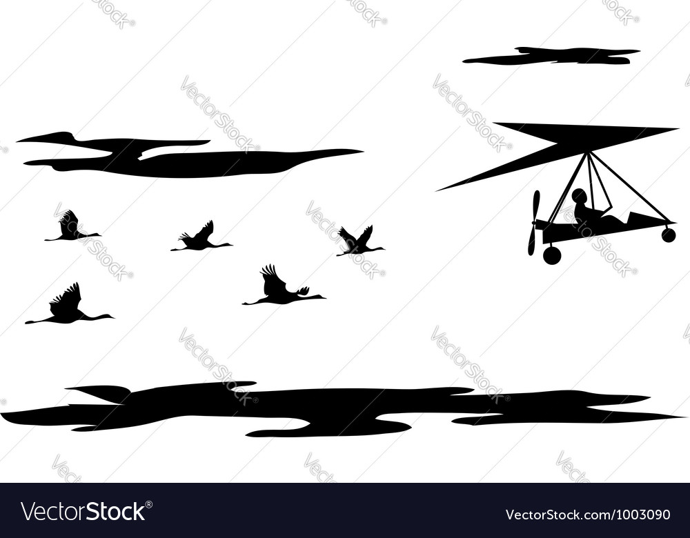 Cranes and motorized hang glider vector | Price: 1 Credit (USD $1)
