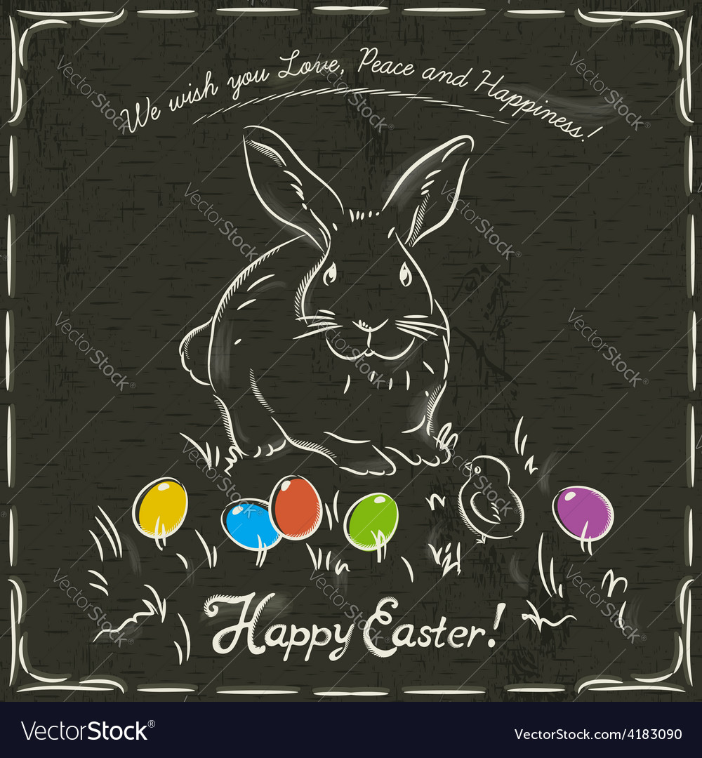 Easter card with rabbit and eggs vector | Price: 1 Credit (USD $1)