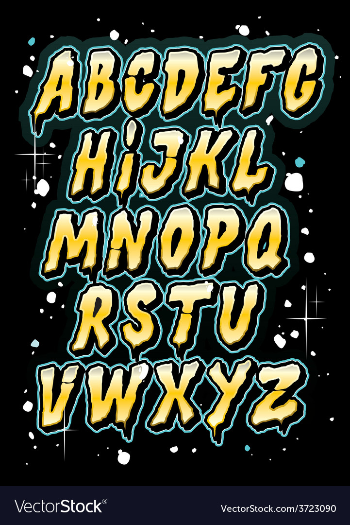 Hand drawn comics style letttering font alphabet vector | Price: 1 Credit (USD $1)