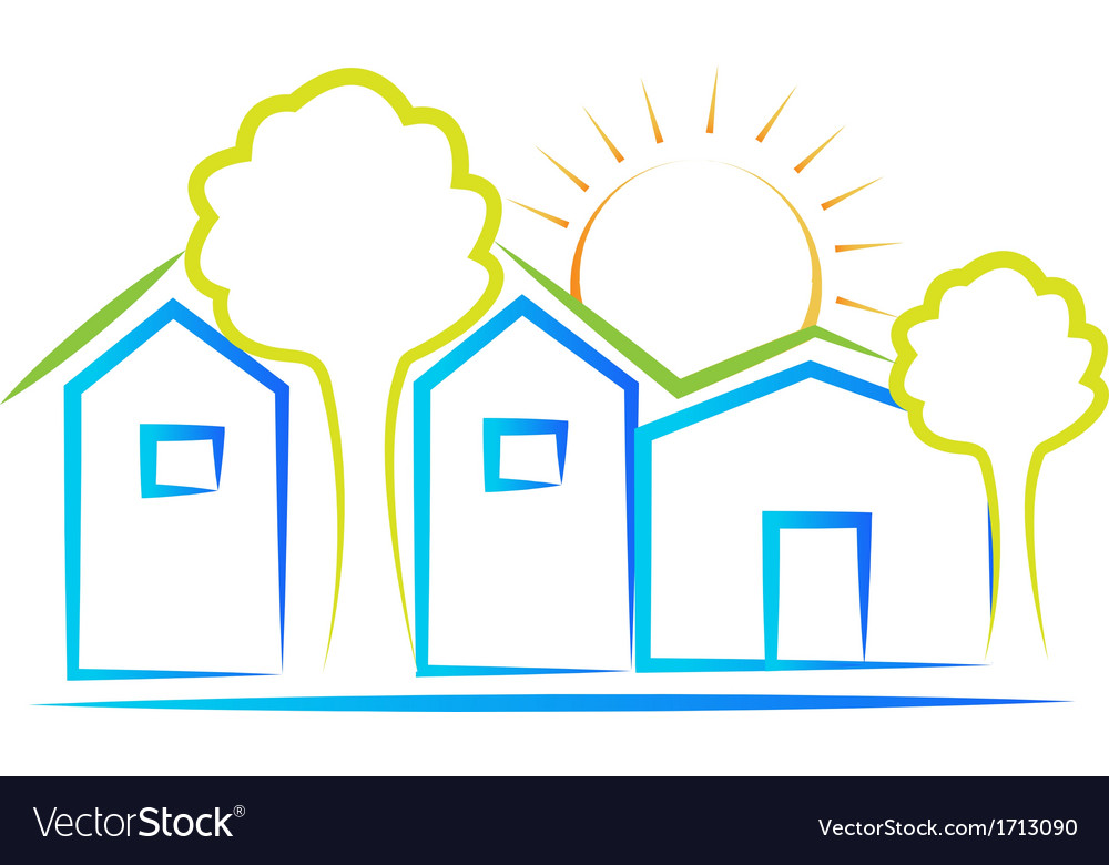 Houses tree and sun logo vector | Price: 1 Credit (USD $1)