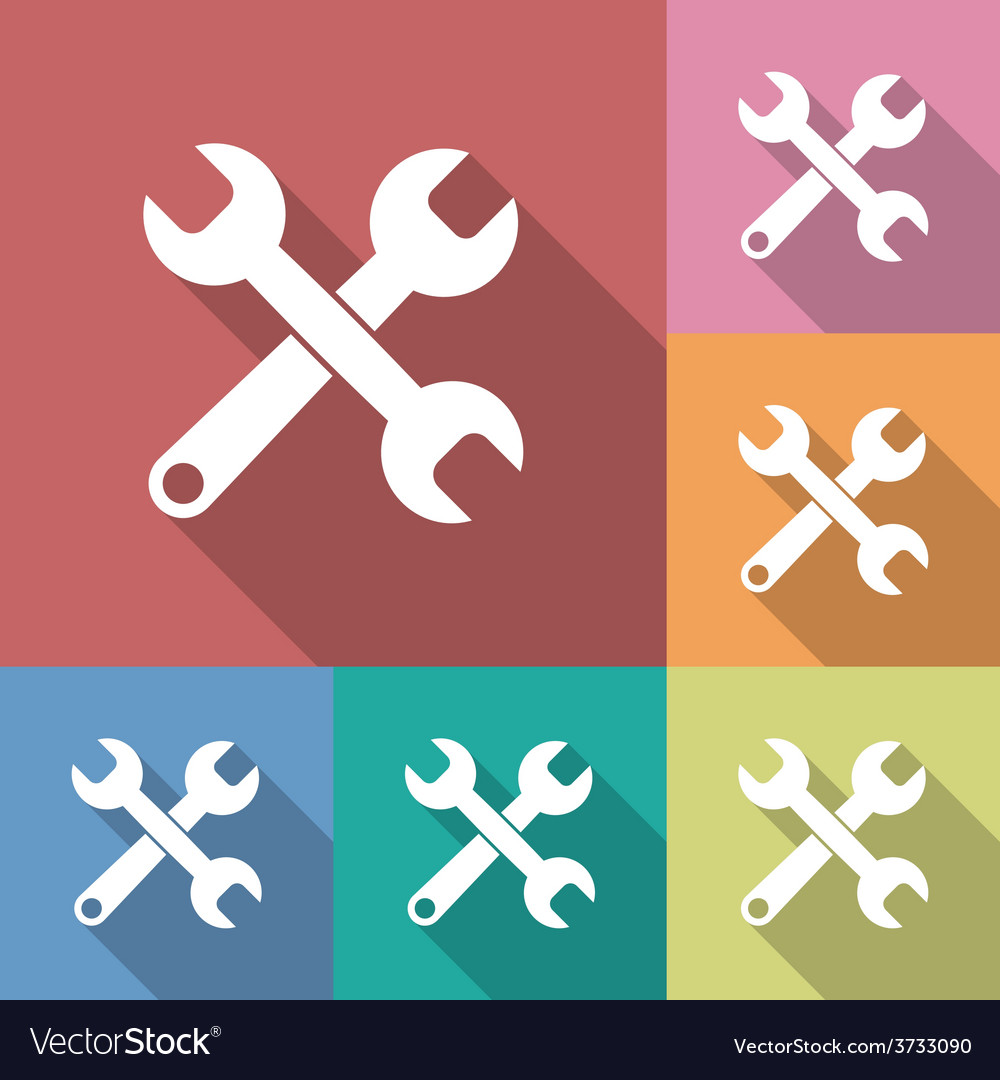 Icon of wrench flat style long shadow vector | Price: 1 Credit (USD $1)