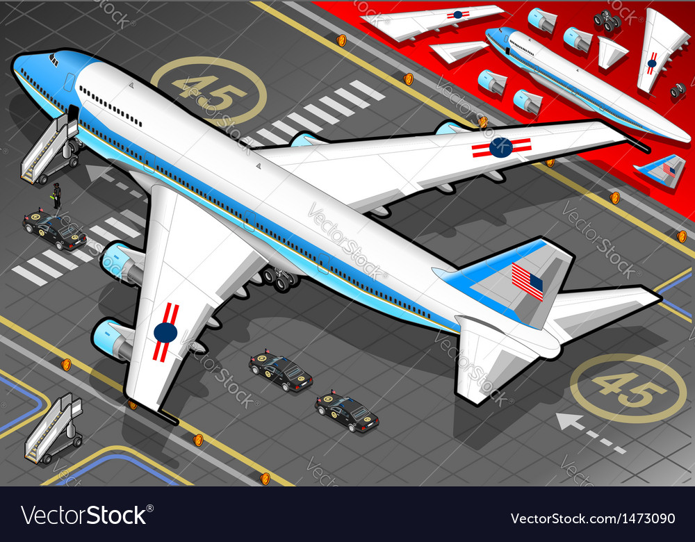 Isometric air force one in rear view vector | Price: 1 Credit (USD $1)