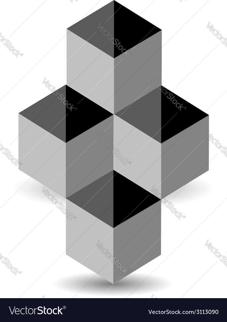 Logo with 3d boxes and shadow vector | Price: 1 Credit (USD $1)