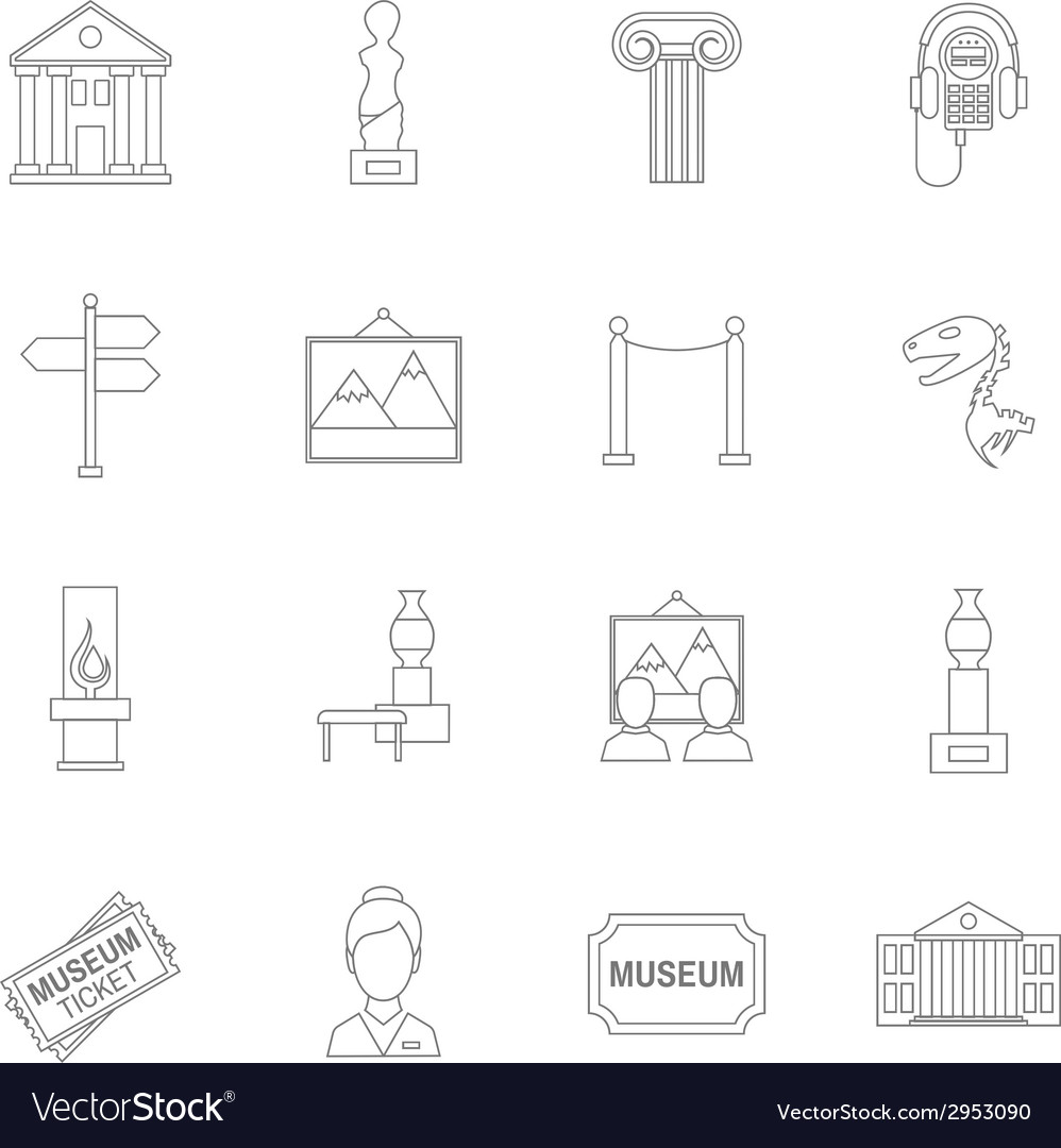 Museum icons outline vector | Price: 1 Credit (USD $1)