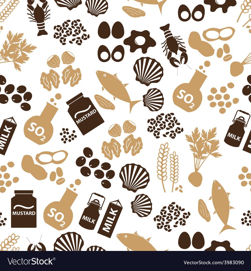 Set of food allergens for restaurants seamless vector | Price: 1 Credit (USD $1)