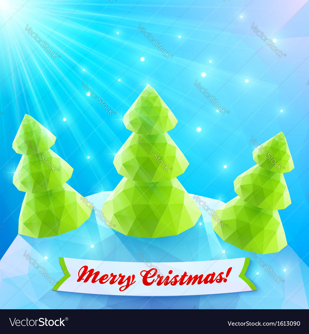Three christmas trees in polygonal style vector | Price: 1 Credit (USD $1)