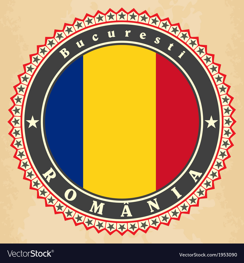 Vintage label cards of romania flag vector | Price: 1 Credit (USD $1)