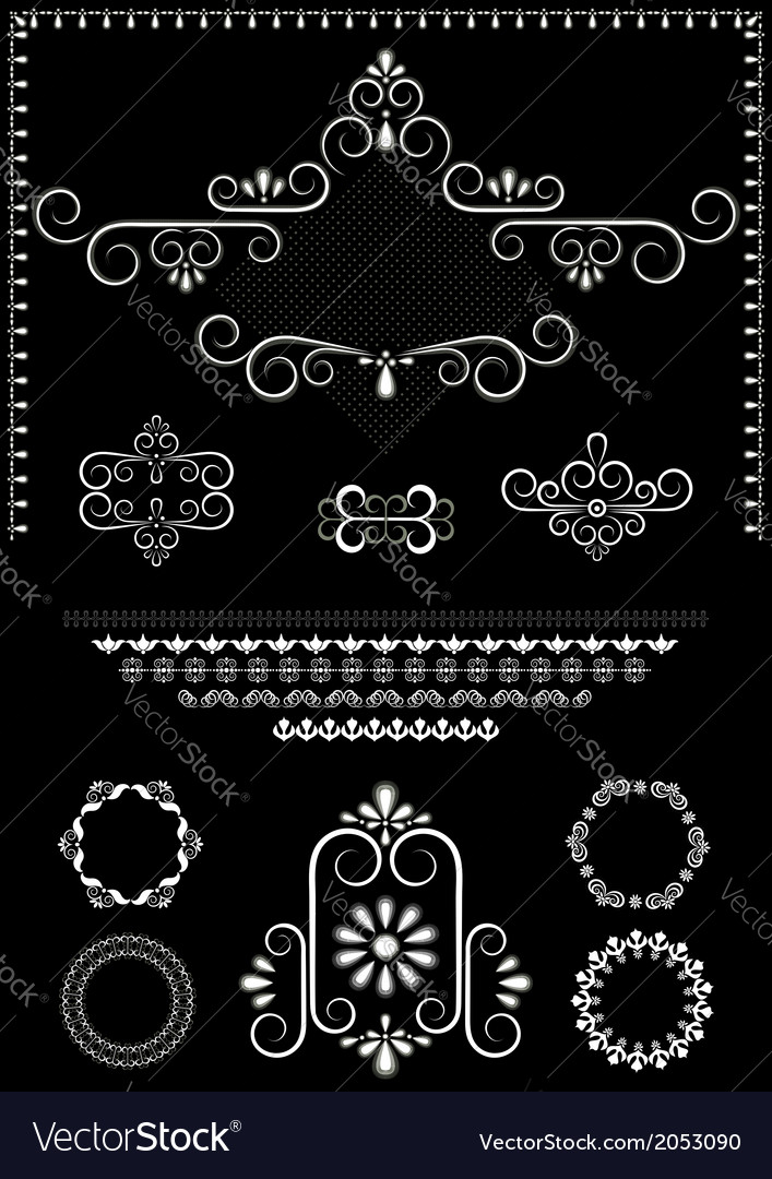 White calligraphy frame and borders vector | Price: 1 Credit (USD $1)