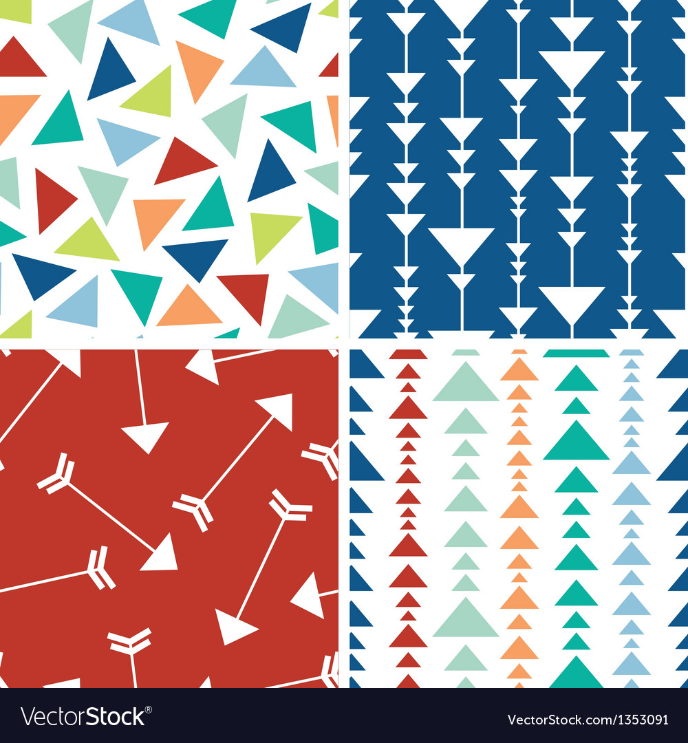 Arrows and triangles seamless pattern background vector | Price: 1 Credit (USD $1)