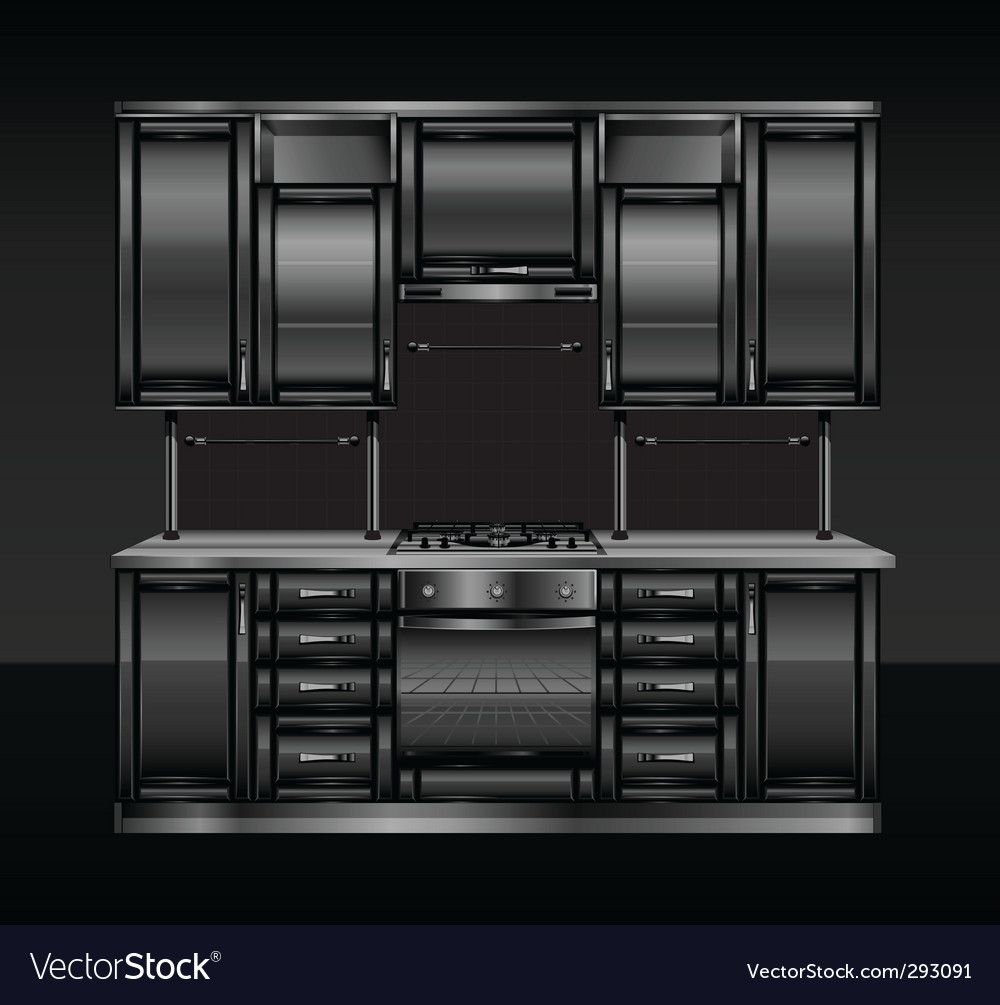 Black kitchen vector | Price: 1 Credit (USD $1)