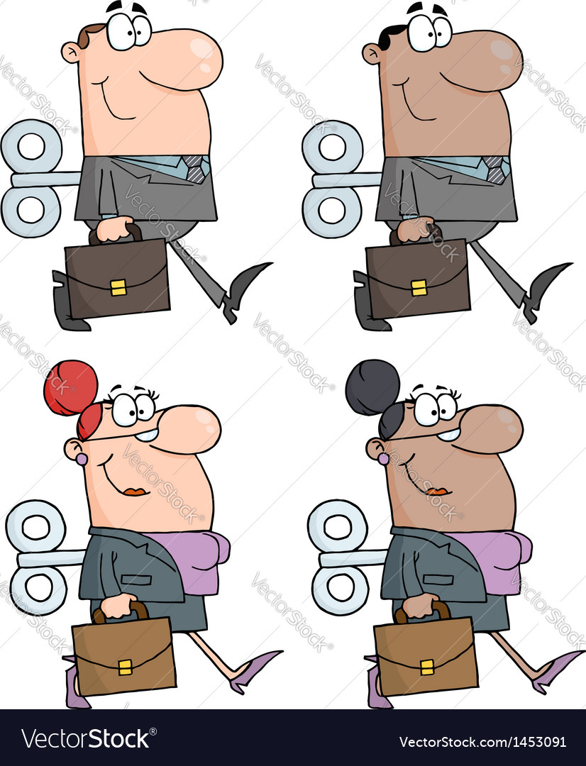 Business people with wind-up key in his back colle vector   Price: 1 Credit (USD $1)