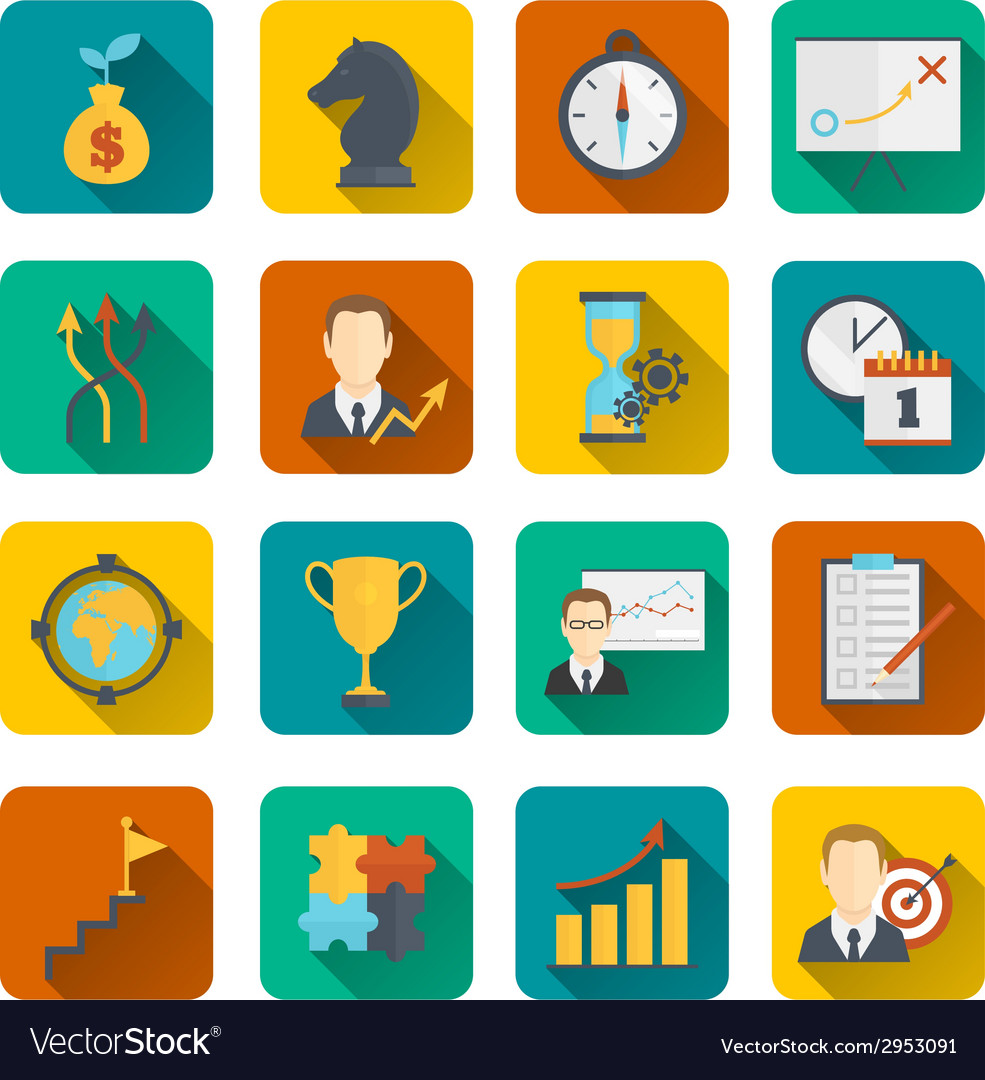 Business strategy planning icon flat vector | Price: 1 Credit (USD $1)