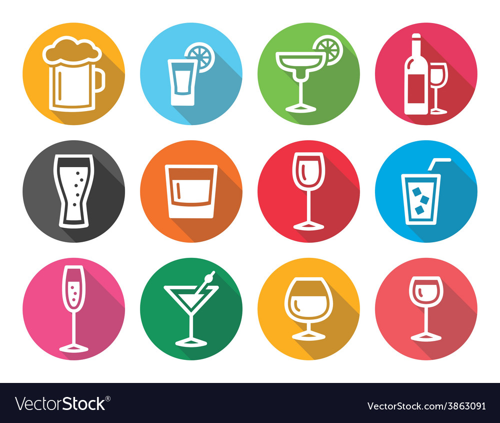 Drink alcohol beverage round flat design icons set vector | Price: 1 Credit (USD $1)