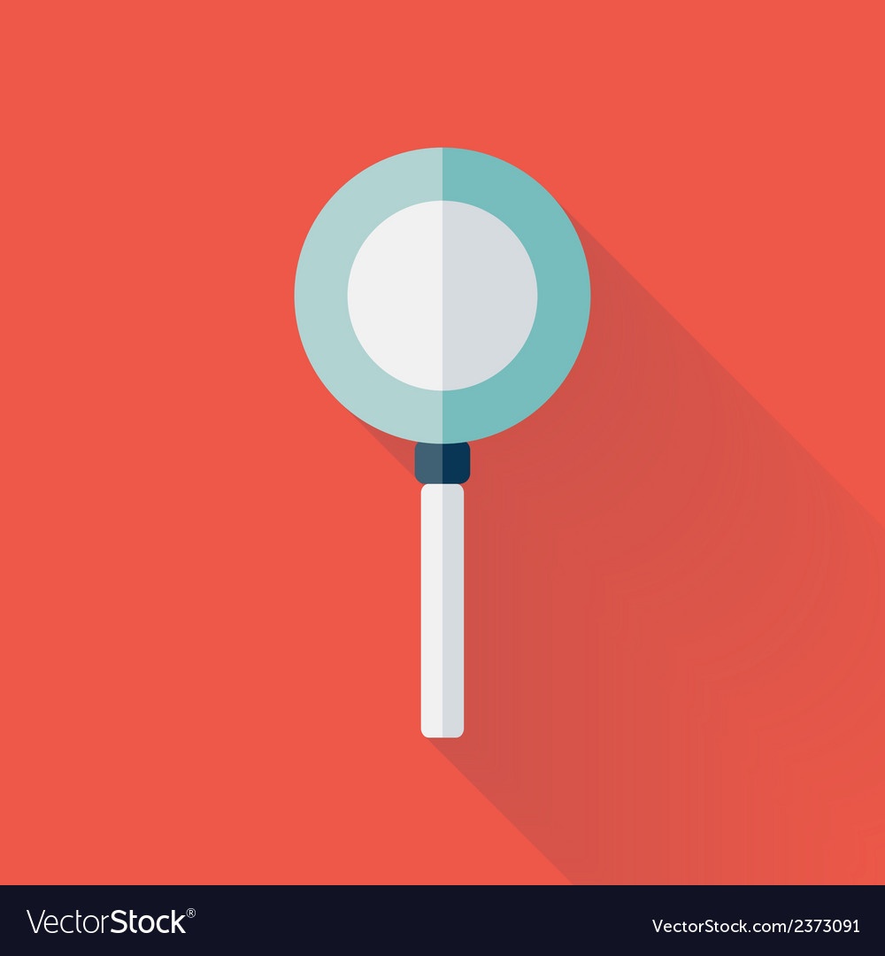 Flat loupe icon over red vector | Price: 1 Credit (USD $1)