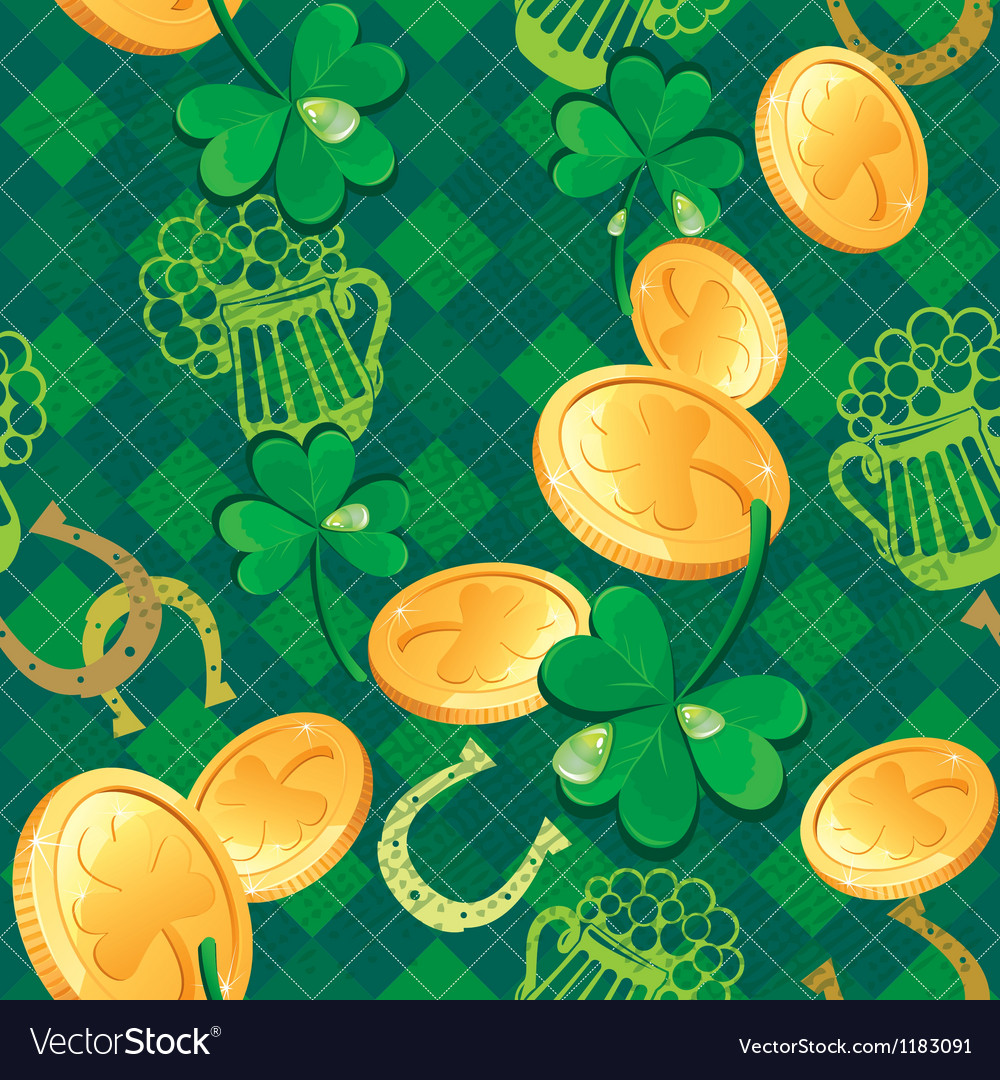 Seamless saint patrick day pattern shamrock and go vector | Price: 1 Credit (USD $1)