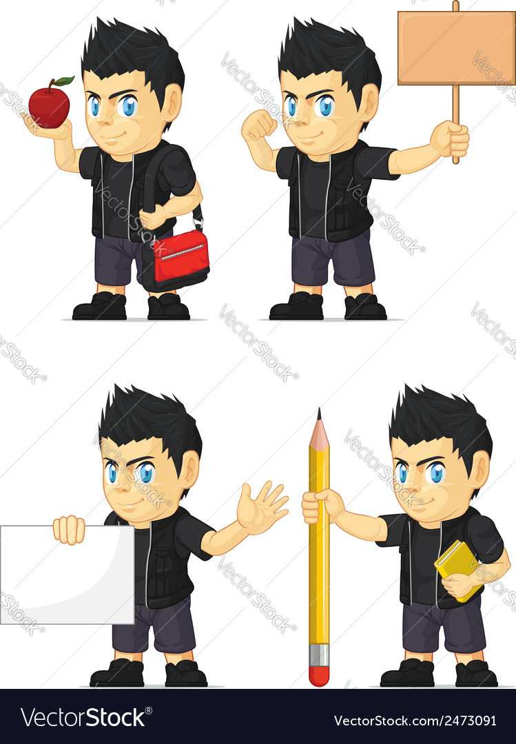 Spiky rocker boy customizable mascot 4 vector | Price: 1 Credit (USD $1)
