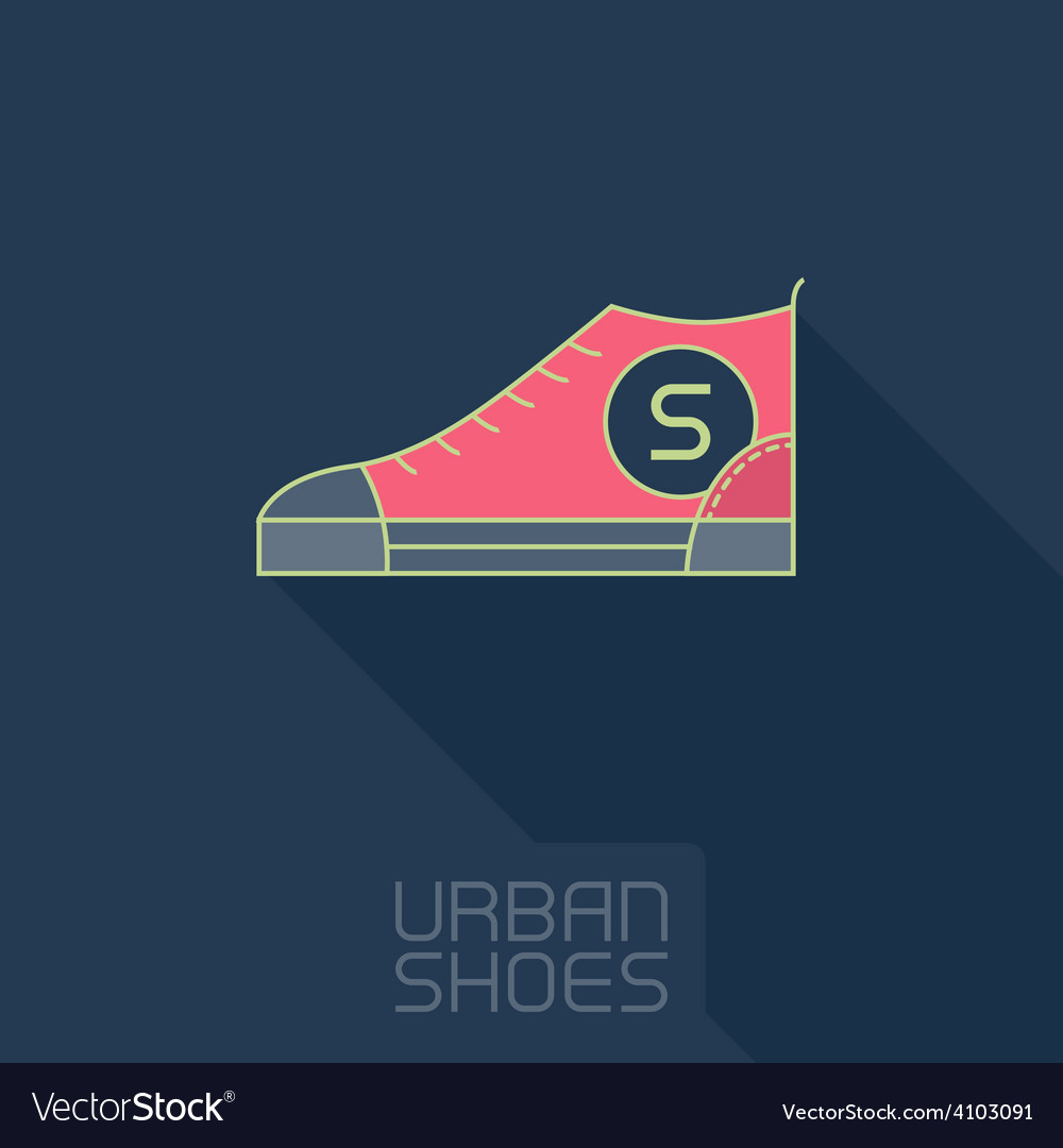Stylized sneakers outline urban shoes with long vector
