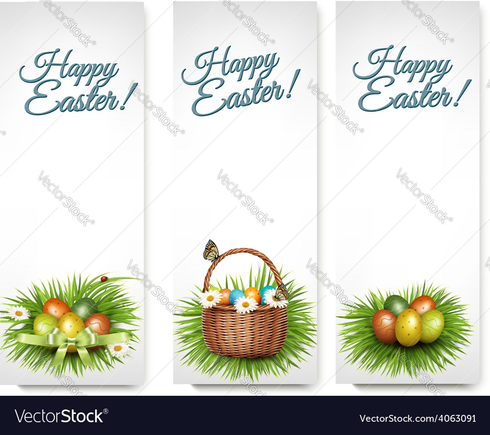 Three happy easter banners with easter eggs in a vector | Price: 3 Credit (USD $3)