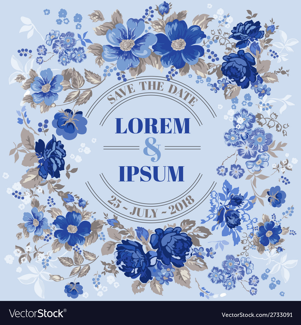 Wedding vintage invitation card with floral frame vector | Price: 3 Credit (USD $3)