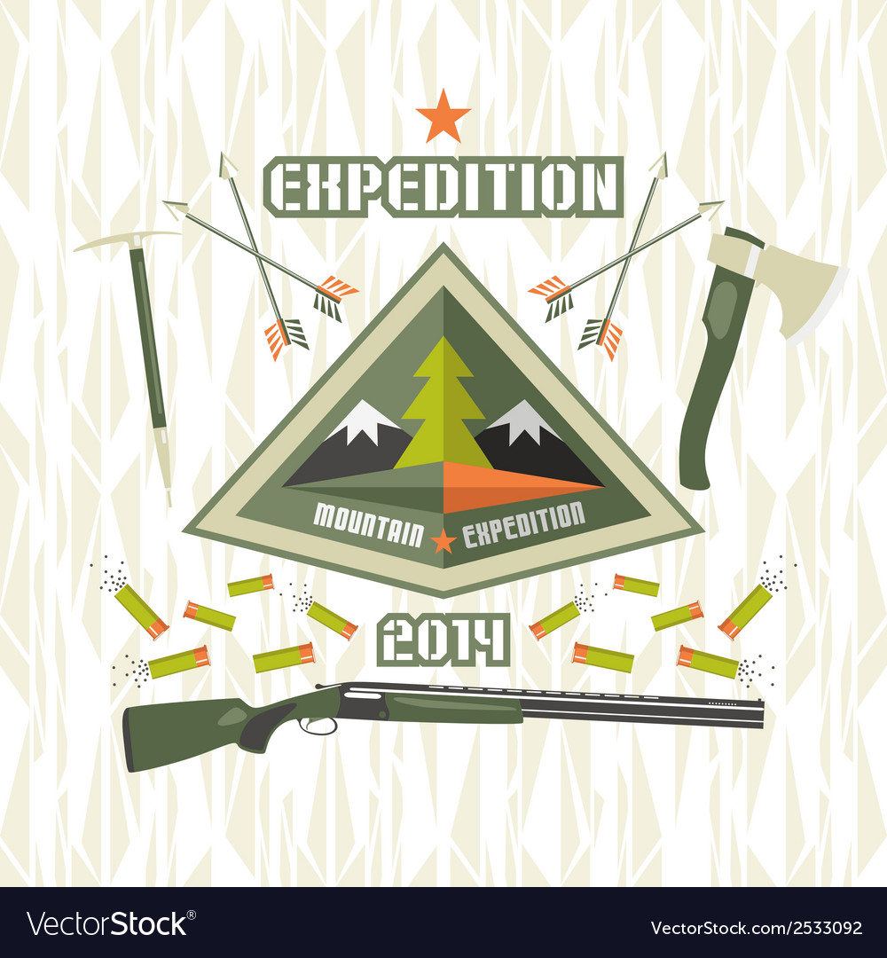 Expedition to the mountains vector | Price: 1 Credit (USD $1)
