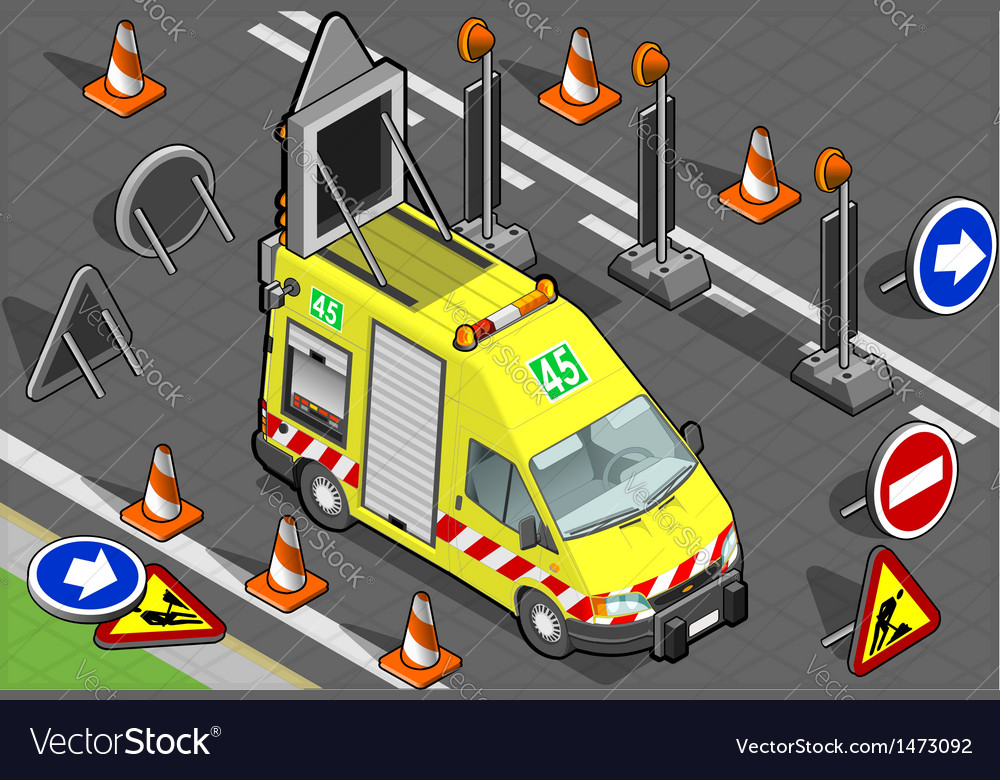 Isometric roadside assistance truck vector | Price: 1 Credit (USD $1)