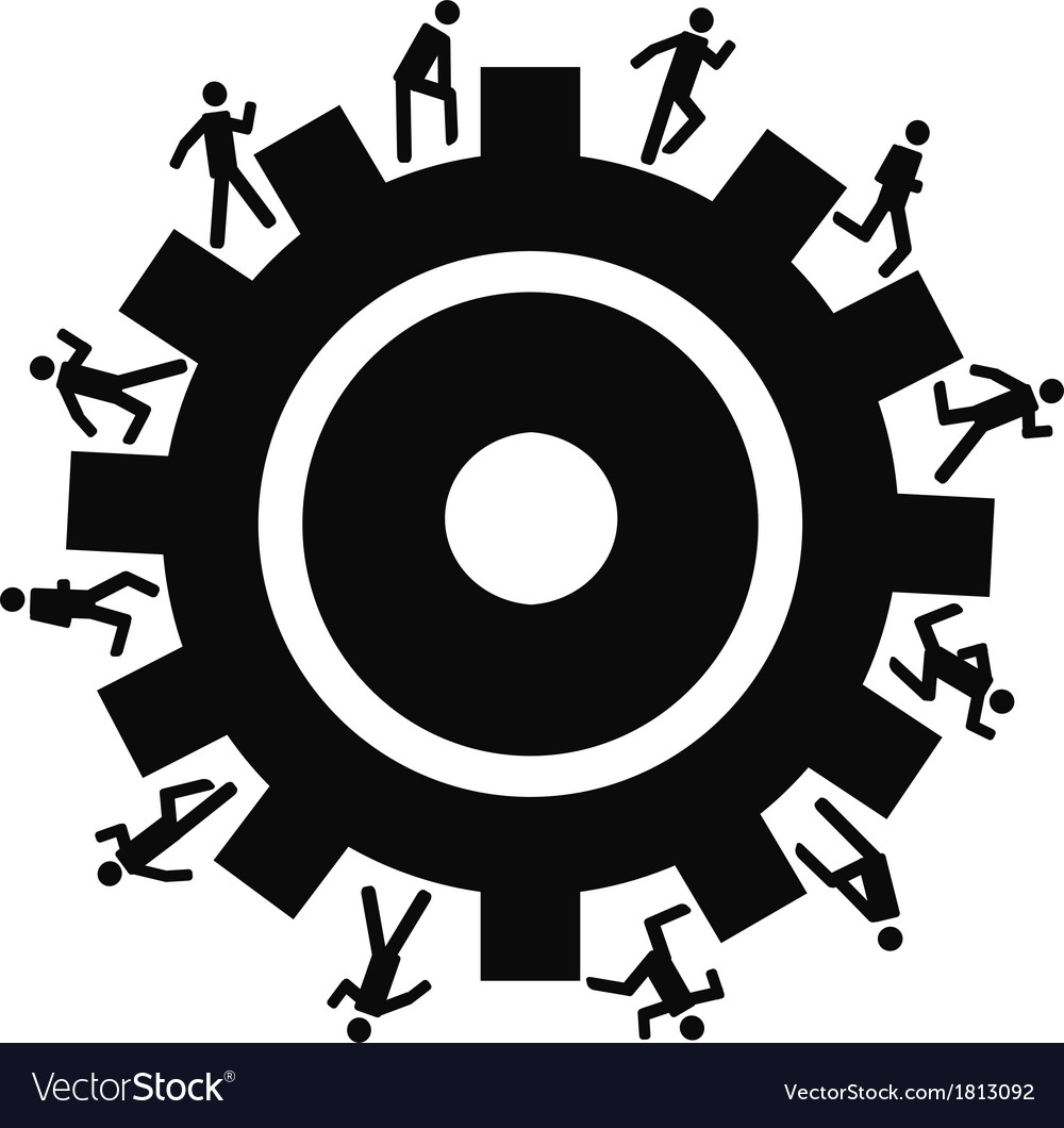 People running around gear vector | Price: 1 Credit (USD $1)