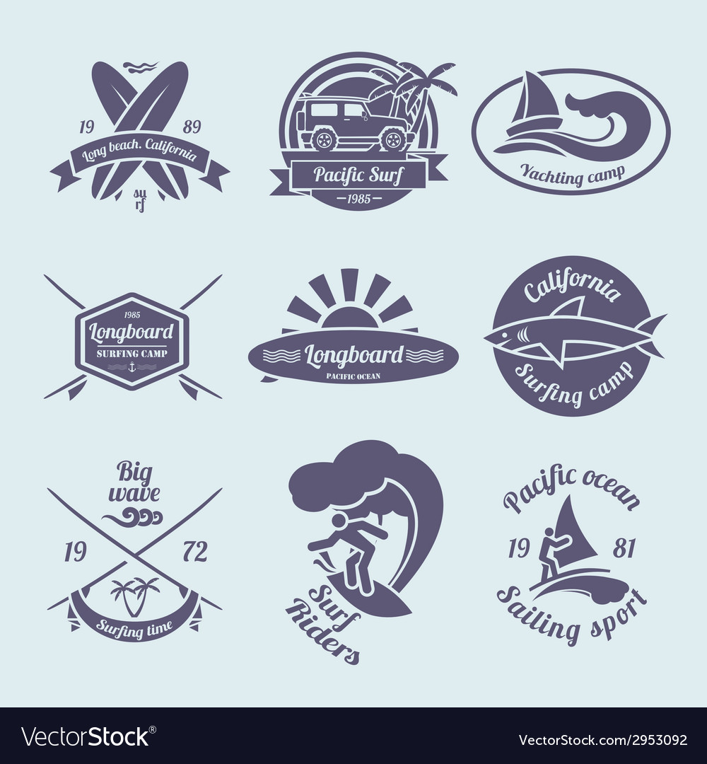 Surfing labels set vector | Price: 1 Credit (USD $1)
