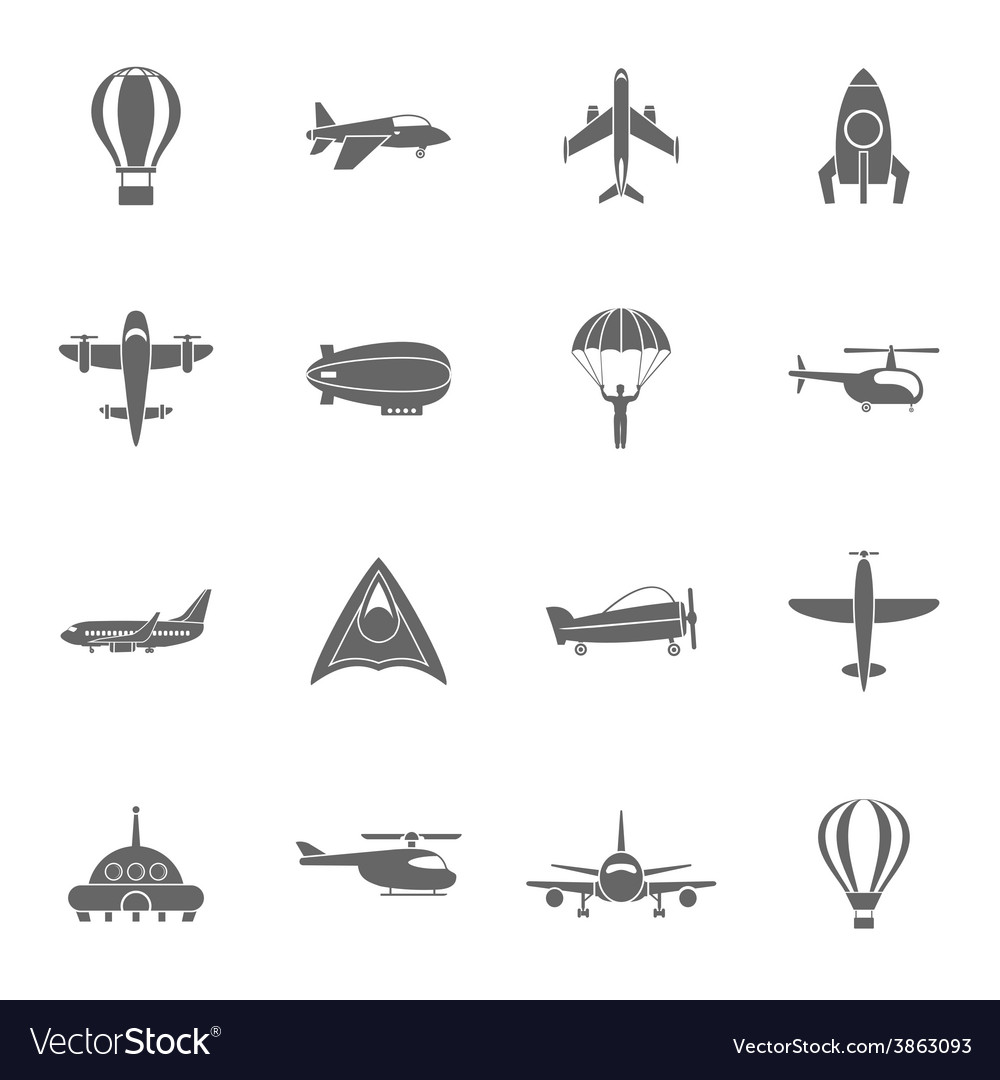 Aircraft icons set black vector | Price: 1 Credit (USD $1)