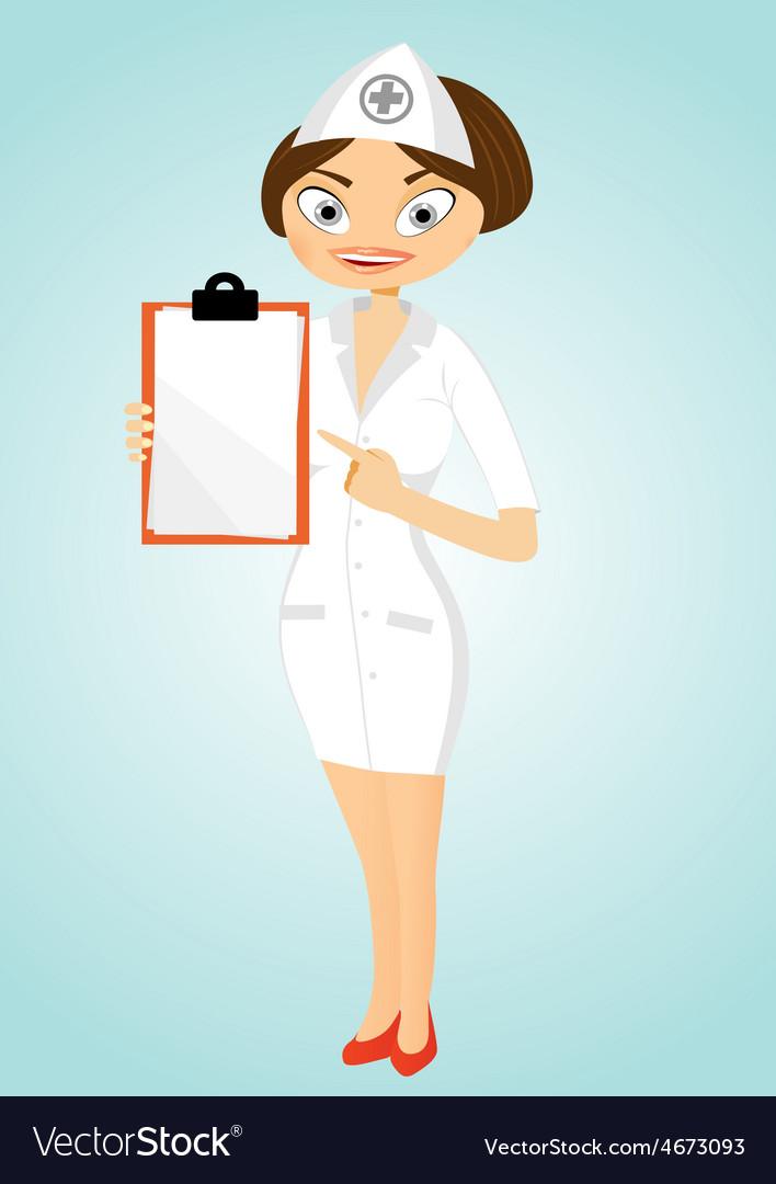 Beautiful confident nurse with clipboard vector | Price: 1 Credit (USD $1)