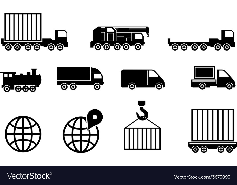 Black big transportation icon set vector | Price: 1 Credit (USD $1)