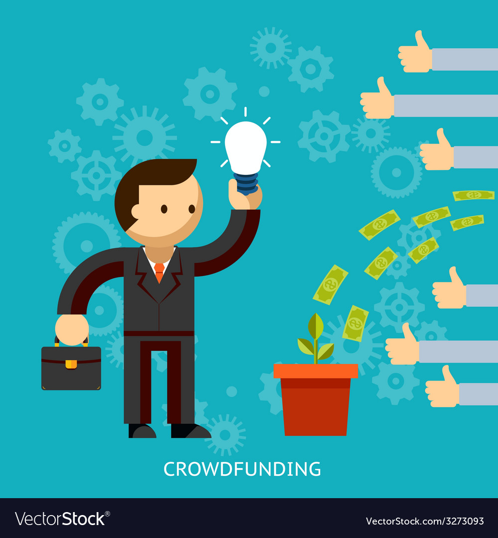 Businessman with a great idea being crowd funded vector | Price: 1 Credit (USD $1)