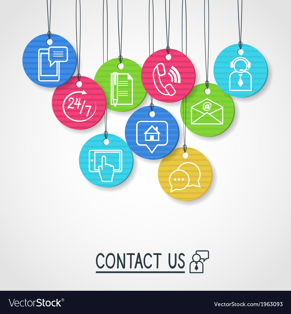 Contact us cardboard labels and tags set vector | Price: 1 Credit (USD $1)