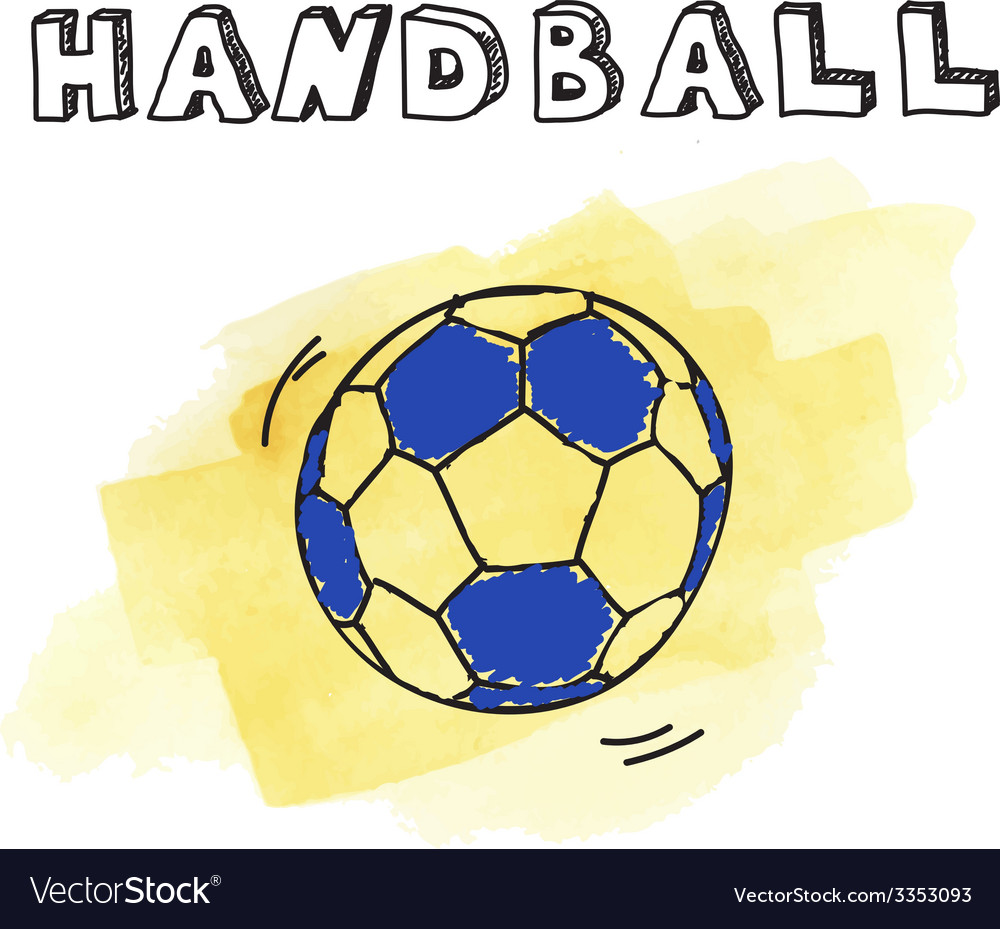 Doodle handball on watercolor background vector | Price: 1 Credit (USD $1)