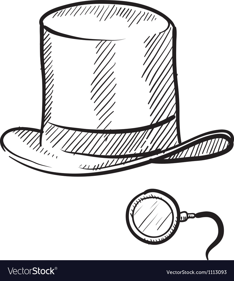 Doodle tophat monocle rich vector | Price: 1 Credit (USD $1)