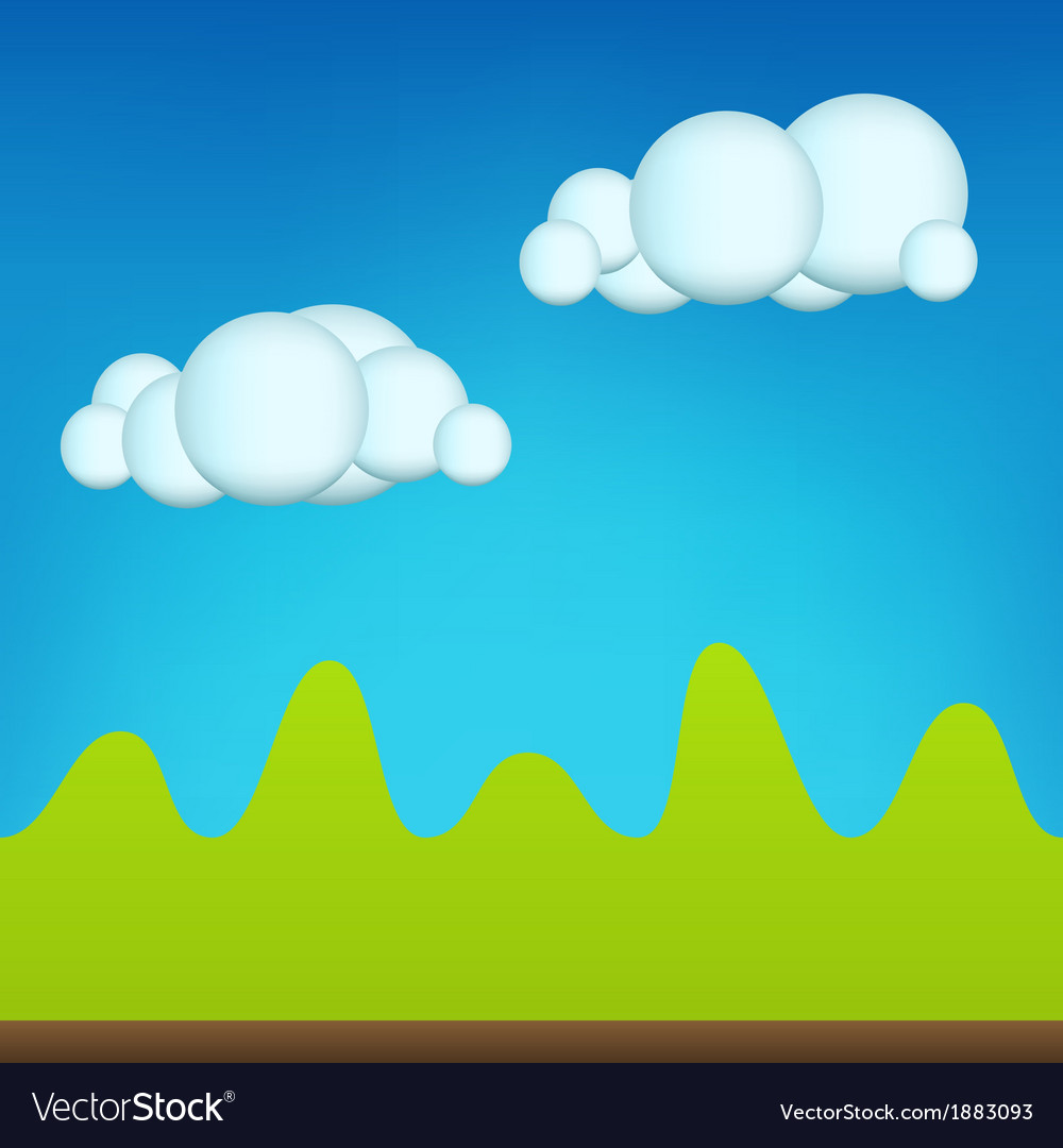 Green cartoon landscape vector | Price: 1 Credit (USD $1)