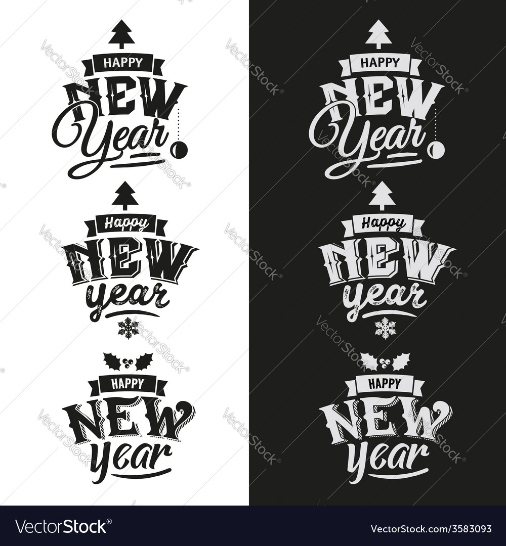 Happy new year hand lettering set vector | Price: 1 Credit (USD $1)