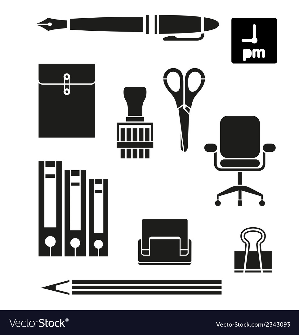 Retina office tools icon set vector | Price: 1 Credit (USD $1)