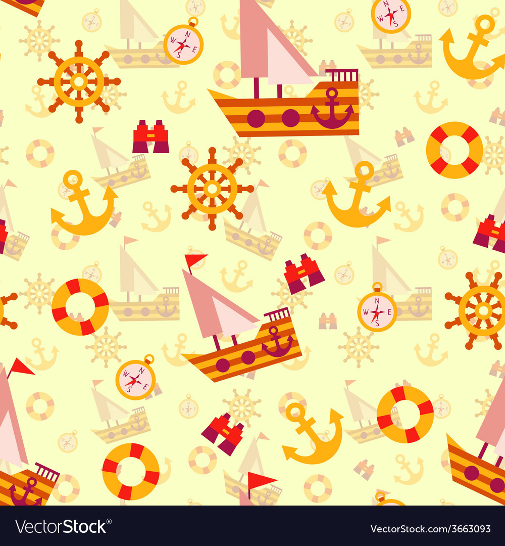 Seamless pattern with sea travel elements vector | Price: 1 Credit (USD $1)