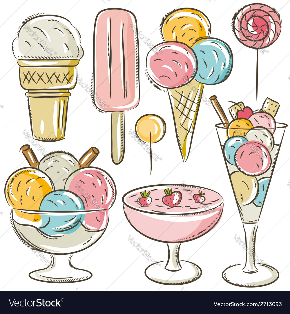 Set of different ice cream vector | Price: 1 Credit (USD $1)